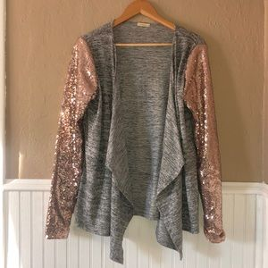 Sweaters - Boutique Brand Rose Gold Sequin and Gray Sweater